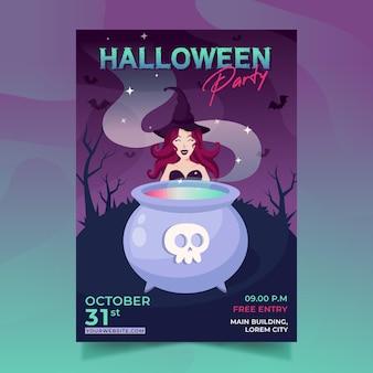 Platte ontwerp halloween partij poster sjabloon