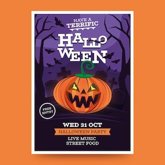Platte ontwerp halloween party poster sjabloon