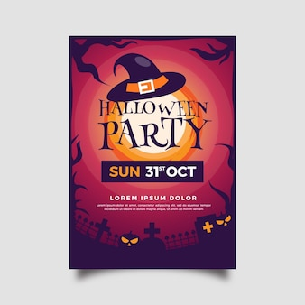 Platte ontwerp halloween party poster sjabloon