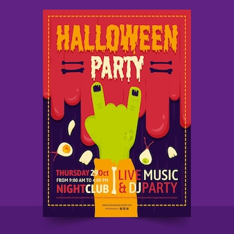 Platte ontwerp halloween party poster