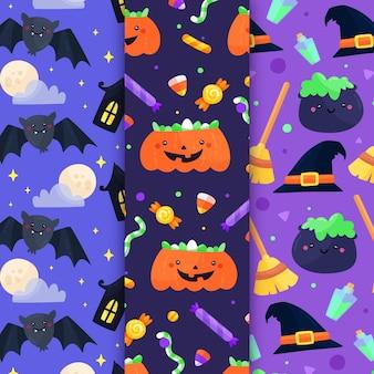 Platte ontwerp halloween patronen collectie
