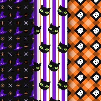 Platte ontwerp halloween patroon collectie