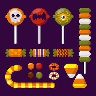 Platte ontwerp halloween snoep collectie