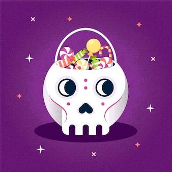 Platte ontwerp halloween tas met schedel