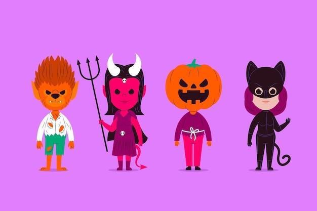 Platte ontwerp halloween tekencollectie