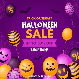 Platte ontwerp halloween verkoop achtergrond met ballonnen