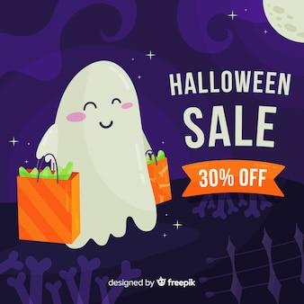 Platte ontwerp halloween verkoop achtergrond
