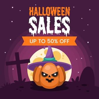Platte ontwerp halloween verkoop banner