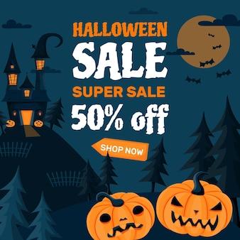 Platte ontwerp halloween verkoop concept