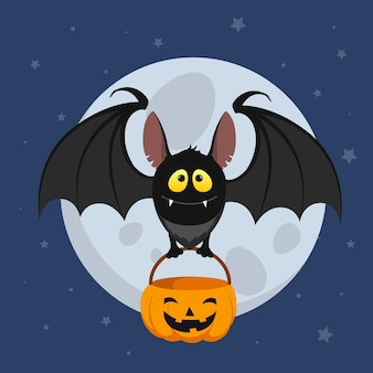 Platte ontwerp halloween vleermuis met tas