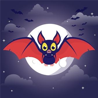 Platte ontwerp halloween vleermuis