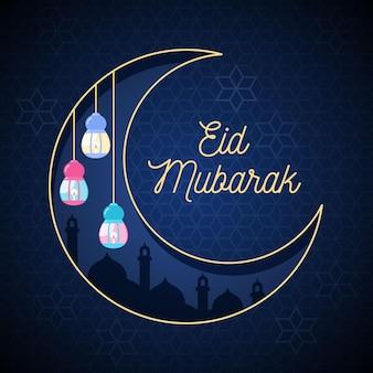 Platte ontwerp happy eid mubarak met lantaarns