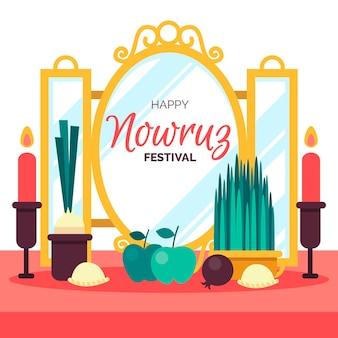 Platte ontwerp happy nowruz-evenement