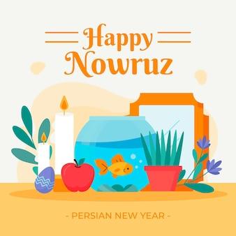 Platte ontwerp happy nowruz geïllustreerde items