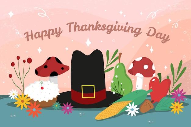 Platte ontwerp happy thanksgiving achtergrond met hoed