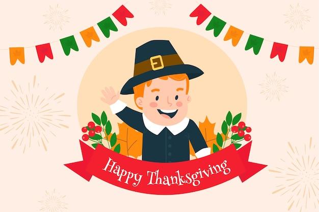 Platte ontwerp happy thanksgiving achtergrond met kind