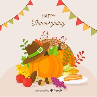 Platte ontwerp happy thanksgiving achtergrond