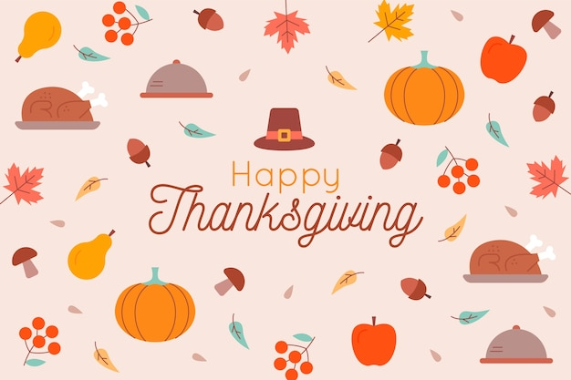 Platte ontwerp happy thanksgiving behang