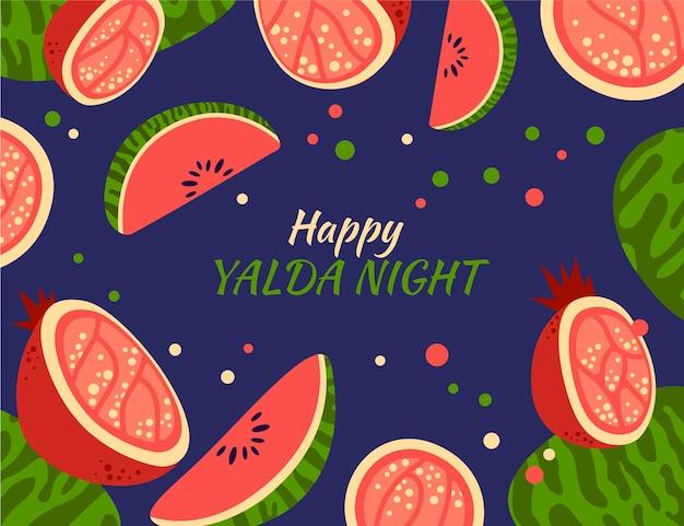 Platte ontwerp happy yalda achtergrond met granaatappel