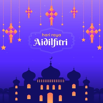 Platte ontwerp hari raya aidalfitri-moskee