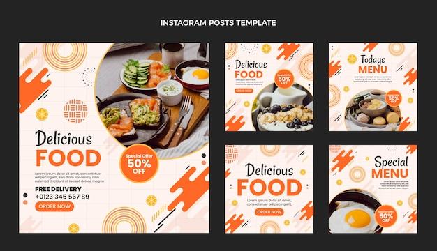 Platte ontwerp heerlijk eten instagram-berichten