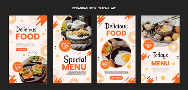 Platte ontwerp heerlijk eten instagram verhalen