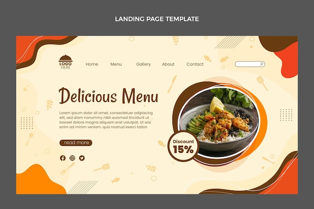 Platte ontwerp heerlijk eten menu bestemmingspagina