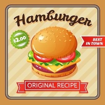 Platte ontwerp heerlijke hamburger met kaas en groenten illustratie