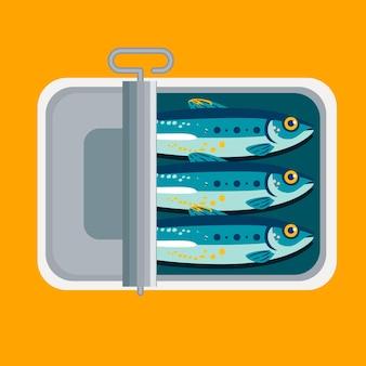 Platte ontwerp heerlijke ingeblikte sardine illustratie