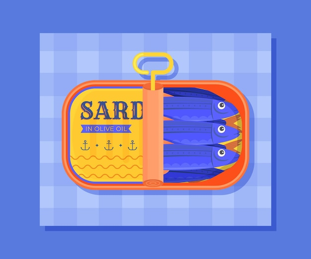 Platte ontwerp heerlijke sardine illustratie