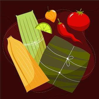 Platte ontwerp heerlijke tamales