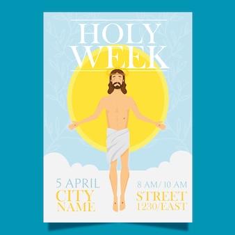 Platte ontwerp heilige week concept