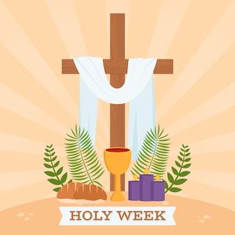 Platte ontwerp heilige week religieus thema