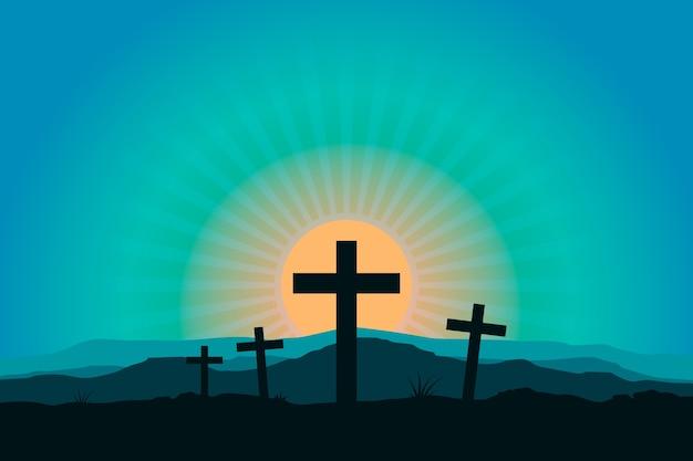 Platte ontwerp heilige week religieuze viering