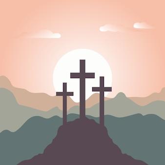 Platte ontwerp heilige weekviering
