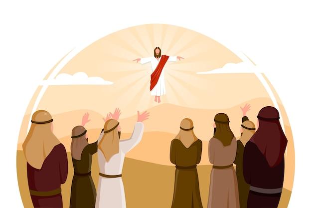 Platte ontwerp hemelvaart illustratie met jezus christus