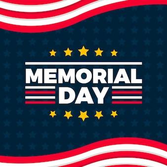 Platte ontwerp herdenkingsdag achtergrond met sterren en strepen
