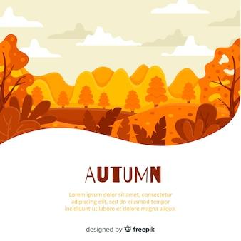 Platte ontwerp herfst achtergrond met bladeren