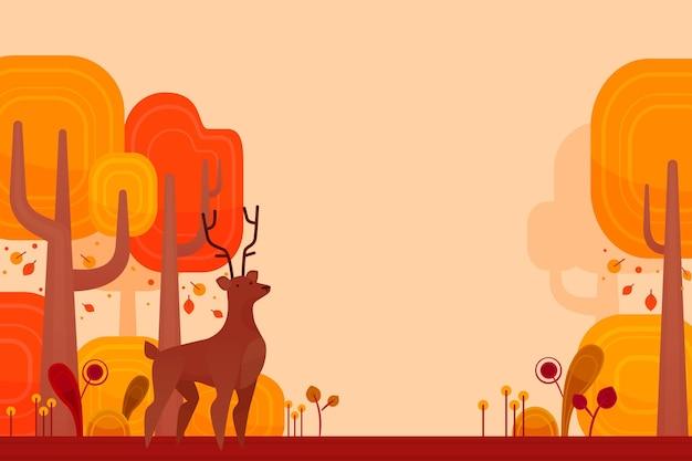 Platte ontwerp herfst achtergrond met bos dier