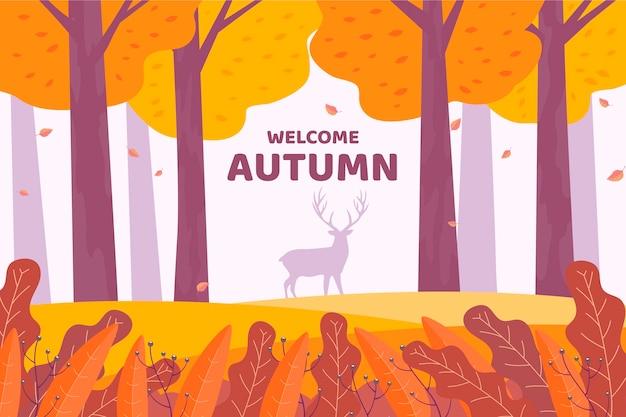 Platte ontwerp herfst achtergrond met bos