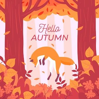 Platte ontwerp herfst achtergrond met hallo herfst bericht