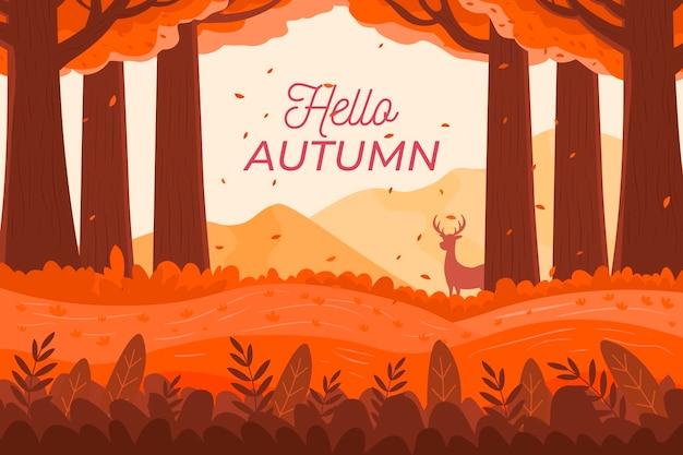 Platte ontwerp herfst achtergrond met hallo herfst tekst