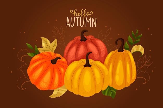 Platte ontwerp herfst achtergrond met pompoenen