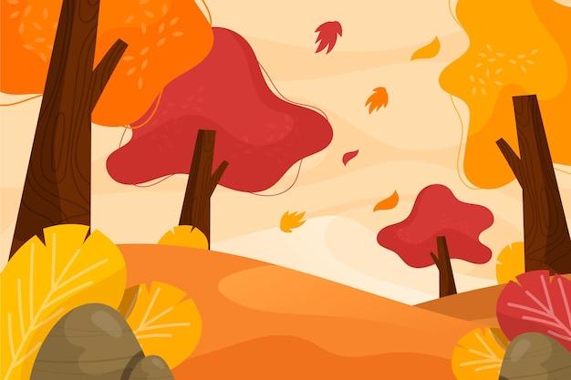 Platte ontwerp herfst achtergrond met prachtig landschap