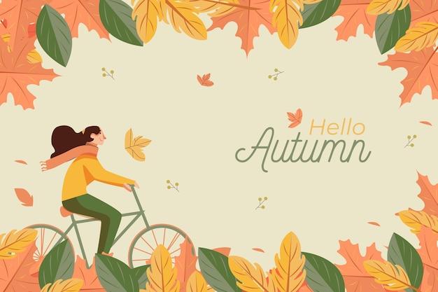 Platte ontwerp herfst achtergrond met vrouw en fiets