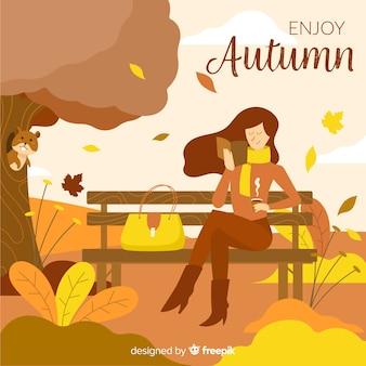 Platte ontwerp herfst achtergrond met vrouw