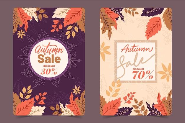 Platte ontwerp herfst banner set