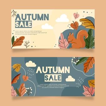Platte ontwerp herfst banners pack
