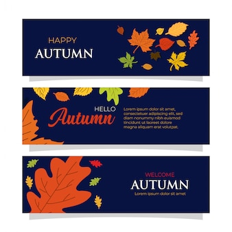 Platte ontwerp herfst banners sjablonen