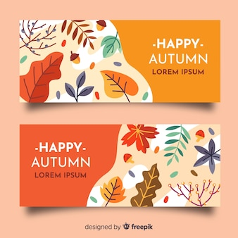 Platte ontwerp herfst banners sjabloon